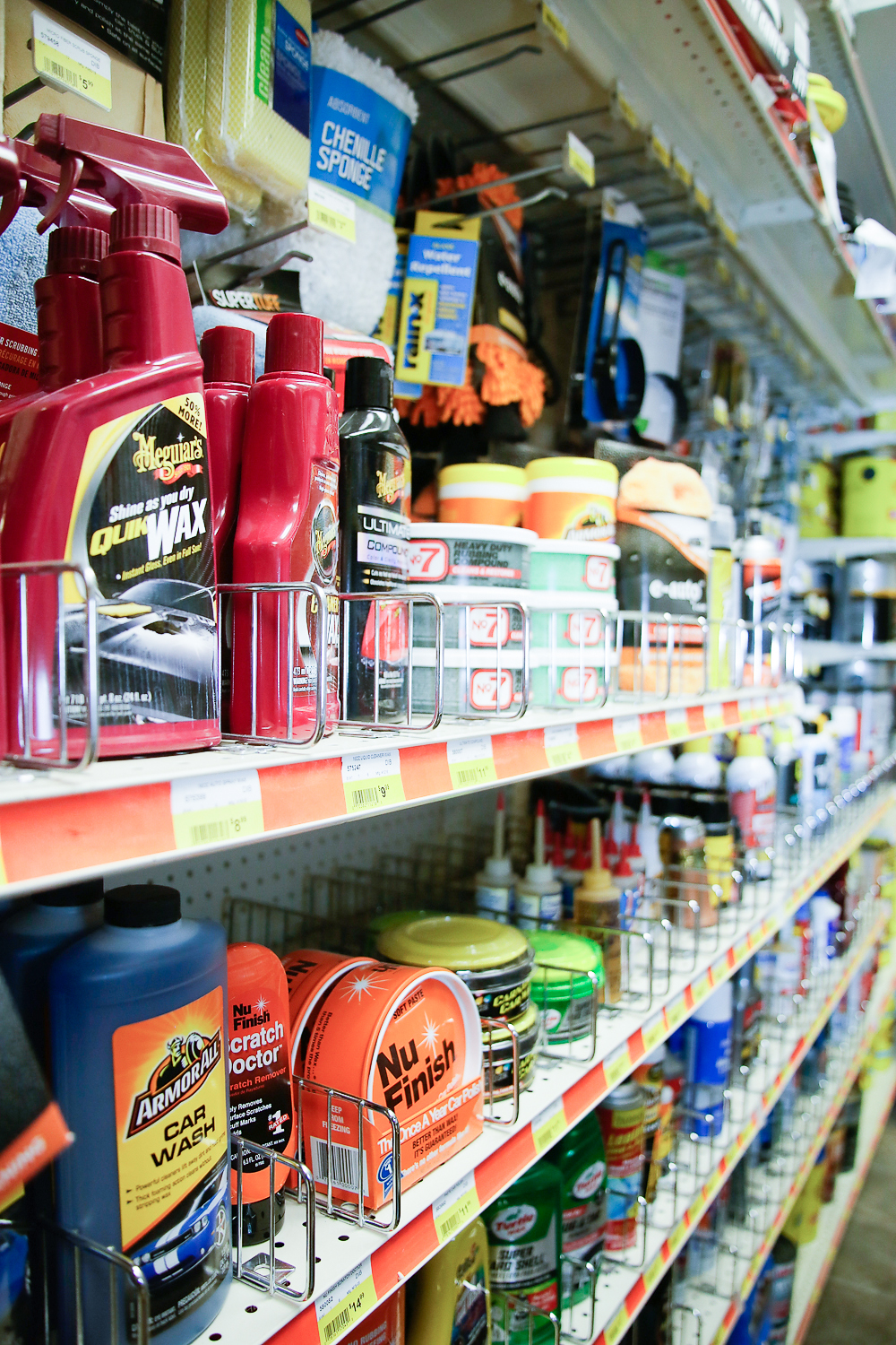 Woodstock Hardware aisle filled with cleaning, washing and waxing products for cars and trucks