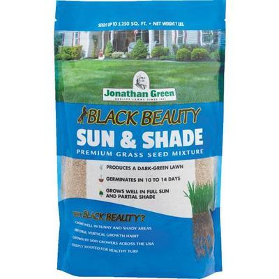 Bag of Jonathan Green Black Beauty Sun & Shade premium grass seed mixture