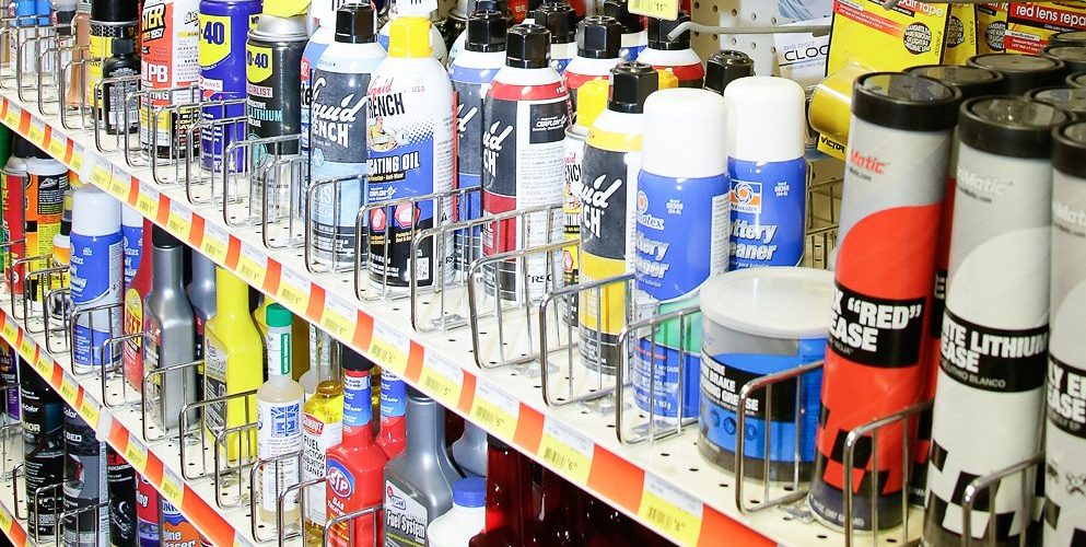 Woodstock Hardware aisle filled with automotive maintenance and repair products