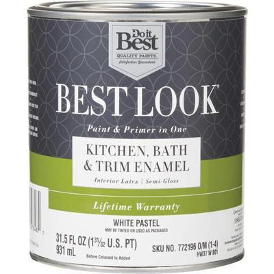 Gallon can of Do It Best, Best Look Kitchen, Bath & Trim Enamel Paint & Primer in One