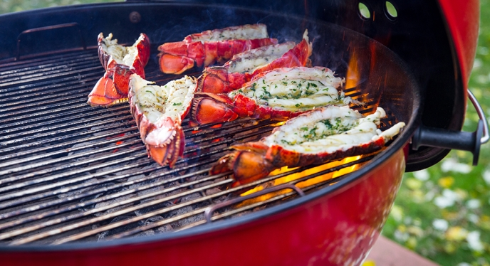 Lobster tails on a Weber Gas Grill assembled by Woodstock Hardware