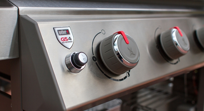 Closeup of knobs on a Weber Gas BBQ Grill assembled by Woodstock Hardware
