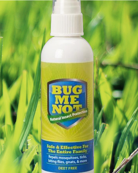 Bottle of BugMeNotSpray made from a blend of powerful essential oils known to repel mosquitoes, ticks, biting flies, gnats
