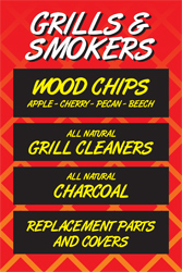 What Woodstock Hardware has for grills & smokers: wood chips, grill cleaners, charcoal and replacement parts/covers