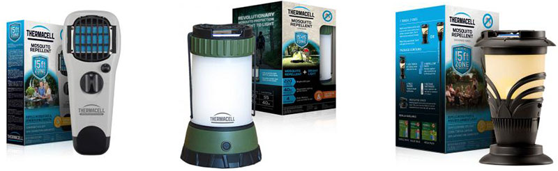 Thermacell patio repellers running on butane, no electricity, for small areas 15' x 15'