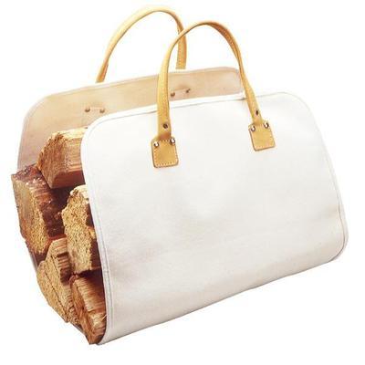 """Canvas log carrier 15""""x35"""", convenient, leather handles"""