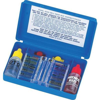 Pool and spa 4-way test kit for chlorine, bromine, pH (acid demand and total alkalinity.