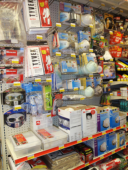 Woodstock Hardware aisles of protective devices, tools and gear