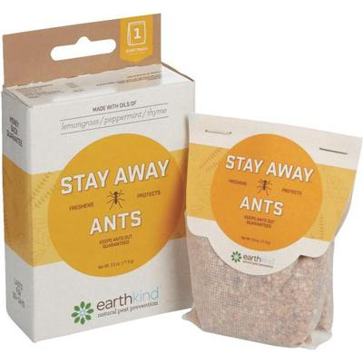 Packages of Stay Away Ants which repels ants naturally with a formula or essential oils and plant fibers