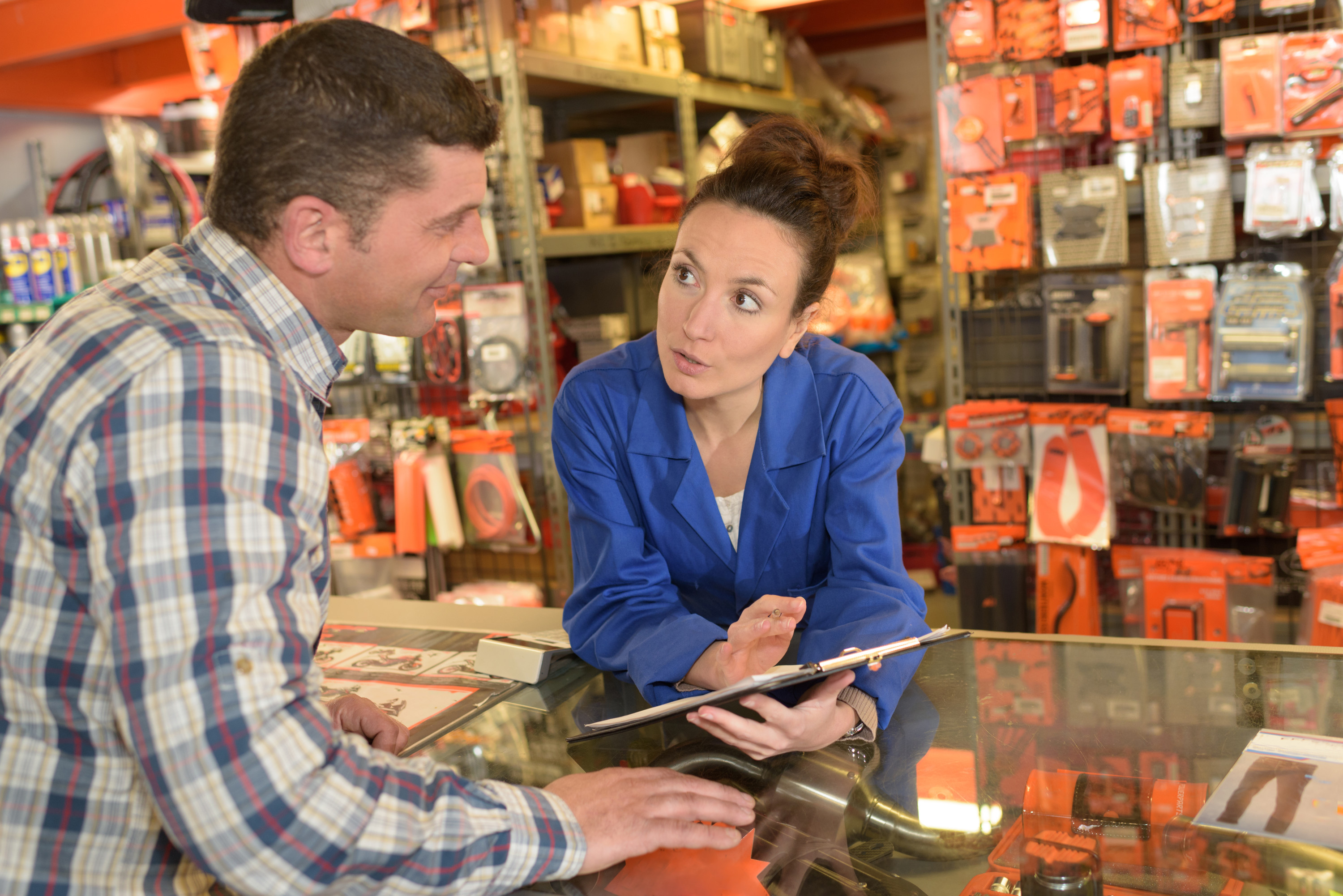 Talking with a Woodstock Hardware employee to place a special Wholesale Supply order